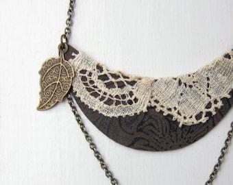 Bib Necklace Bohemian Jewelry Lace Jewelry, Gypsy Necklace, Woodland Rustic Antique Beige, Brown, Leaf