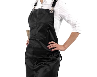 Cross-Back Barber Apron - Coated Jet Black - Silver Metal - Small Size