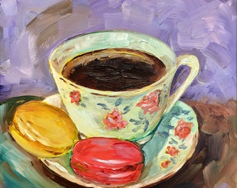 """Original oil painting is as sweet as can be with delectable macaroons and a hot cup of coffee It's a cute tiny little 6"""" square"""