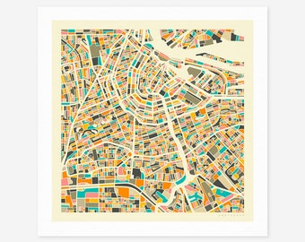 AMSTERDAM MAP (Giclée Fine Art Print/Photo Print/Poster Print) by Jazzberry Blue (ivory version)