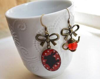 Earrings asymmetrical rabbit and teapot