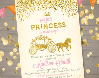 Princess baby shower etsy princess baby shower invitation princess carriage baby shower invitation pink gold glitter princess baby shower invite filmwisefo Images