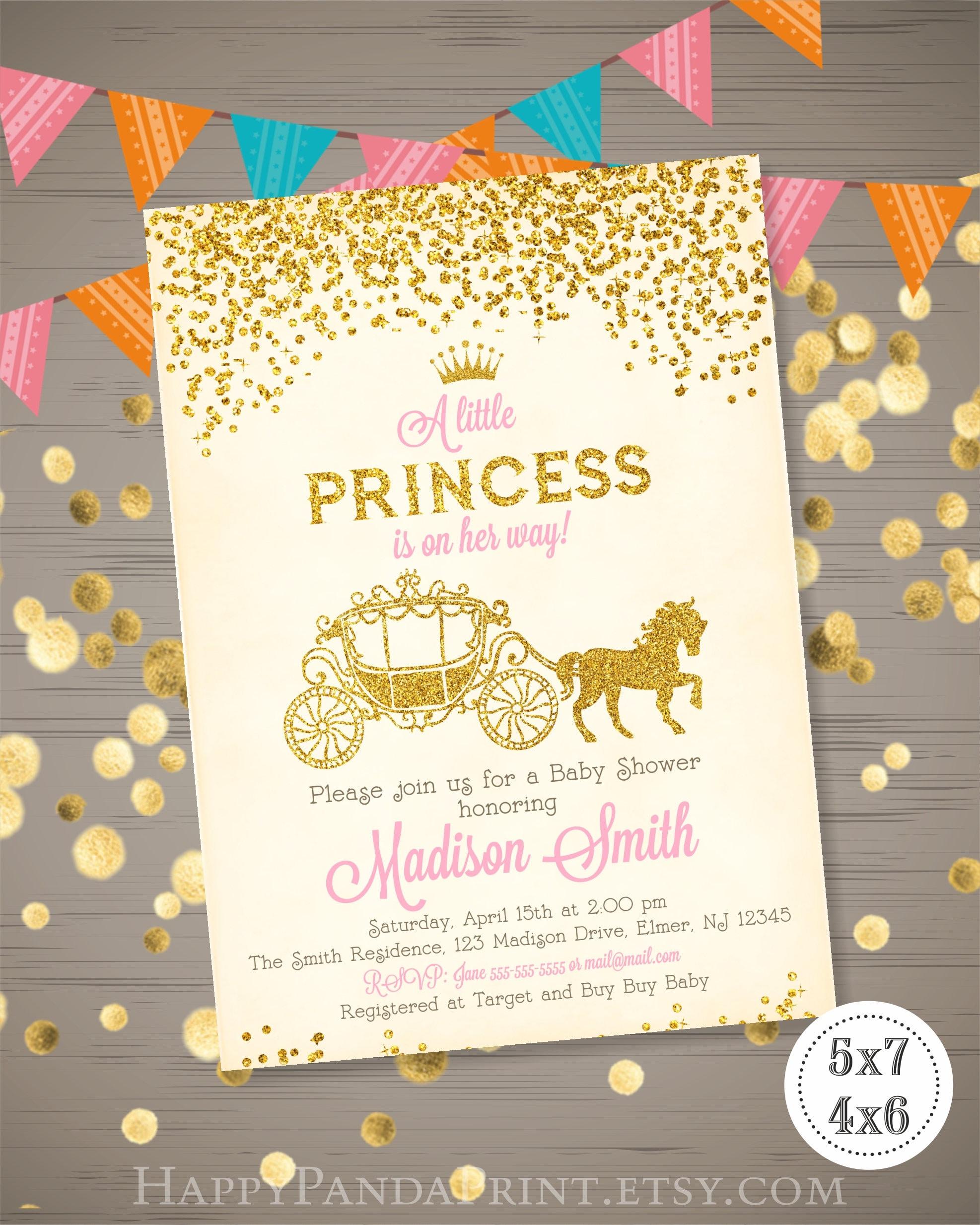 Princess Baby Shower Invitation Princess Carriage Baby Shower