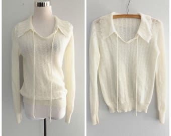 white peter pan collar sweater - vintage 70s knit sheer pullover - size s / small - hippie boho blouse tops - 1970s bohemian hippy jumper