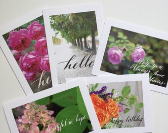 Set of 5 Greeting Cards - Photography and calligraphy, hello card, happy birthday card, card set, hopeful card, floral cards, gift for her