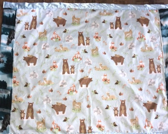 NEW home made wild life toddler blanket