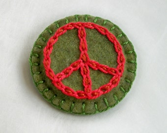 Peace Sign Symbol Brooch or Pin - Hand Embroidery on Felt