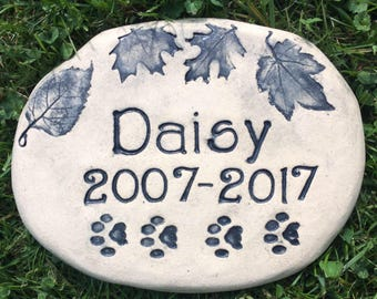 "Custom pet memorial stone / engraved Pet's name / Dog / Cat paw prints. Heavy Outdoor Quality. 8"" wide. Lays flat. Choice of Nature Designs"