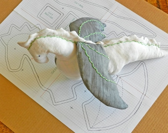 Upcycle Recycle Repurposed Eco-Friendly - White Linen Dragon with Denim Wings - PDF Pattern with Photo Instruction - A Perfect Magical Gift!