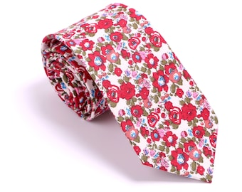Red Wedding Floral Tie, Skinny Ties, Cotton Tie, White Red Floral Tie, Floral Skinny Tie, Wedding tie, Customized length Tie, Tie Gift