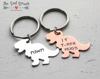 Personalized Hand Stamped Dinosaur Keychain, T-Rex Keychain, Custom Dinosaur Gift, Gifts for Him, I Love T-Rex Hugs, Personalized Keychain