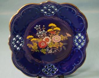 Vintage Japanese ceramic cobalt blue plate circa 1960s made in Japan new