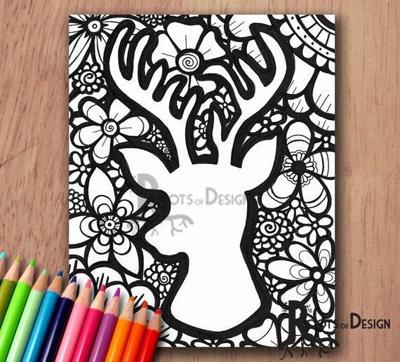 INSTANT DOWNLOAD Coloring Page Deer Head With Flowers Print