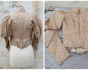Vintage Antique 1850s/1900s French Victorian Corset Manches Gigot blouse  floral silk size XXS