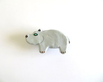 Hippo Drawer Knob - ceramic pull for kids room dresser drawers