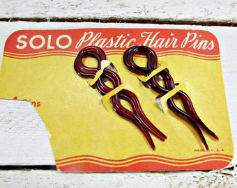 Vintage Celluloid Plastic Hair-Pin Set, SOLO Large Cherry Red Hair-Pins, Hair Forks, Bun Chignon Pins, 1940s WWII Sweetheart Hair Accessory