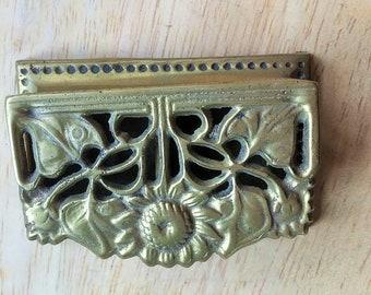 Vintage brass flower detail stamp holder box