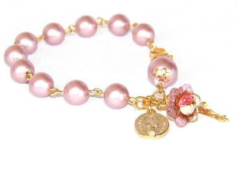 Pink Pearl Rosary Bracelet, Medal of the Virgin Mary, Cross & Flower - Catholic Jewelry