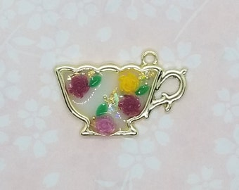 Old country roses teacup necklace