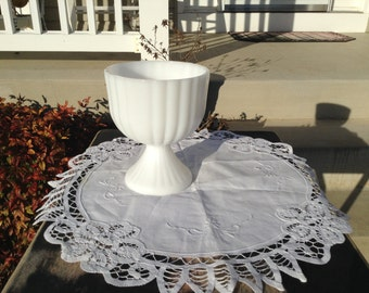 Milk Glass Ribbed Compote or Vase or Candy Dish  Shabby  Chic Decor Wedding Decor  Milk Glass