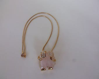 Rose Quartz Embellished Elephant Shaped Pendant/Brooch on Gold Plated Chain Gift for her Birthday