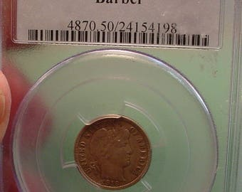 1916 Barber Dime P.C.G.S. AU 50<> The Coin you see is the coin you get /Insurance Included in SH <>ETB6396