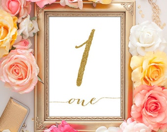 Wedding Table Numbers Gold - 5x7 Table Numbers 1-25 (Entire Set!), Gold Table Numbers, Printable Wedding Decor, Calligraphy