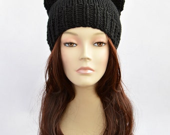Black Cat Hat, Cat Ears, Cat Ear Hat, Womens Cat Beanie, Cat Ear Beanie, Knit Hat, Ears Hat, Knitted Hats, Bonnet Femme, Hat with Cat Ears