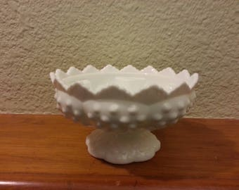 Fenton Milk Glass Hobnail Centerpiece candle holder vintage collectible gift