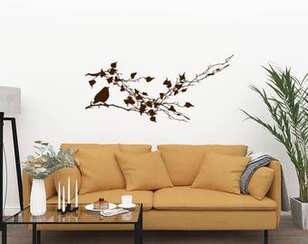 Tree Branch Wall Decal, Bird Garden Decor Vinyl Decal, Living Room Wall Decal, Office Vinyl Decal, Bird Window Decals, Gifts for Bird lover