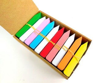 """1000  Plastic Plant Stakes Tags Labels Bright Rainbow Colors (100@ of 7 colors plus 300 white) Made in USA 4"""" X 5/8"""""""
