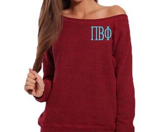 Pi Beta Phi Sweatshirt, Monogrammed Pullover, Monogrammed Off Shoulder Sweatshirt, Wide Neck Sweatshirt, Phi Beta Phi Pullover