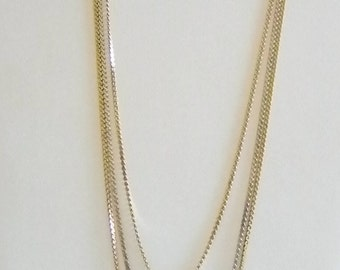 1928 Silver Gold Tone Finish Layered Chain Necklace