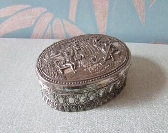 1960s Godinger-style silver metal, lined trinket box