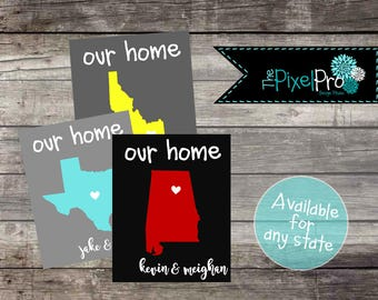 Home state sign, state sign for your home, state sign home decor, state sign digital print, home state with name, home state name picture