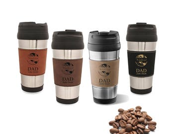 World's Best Dad Leatherette Travel Coffee Cup - Insulated Steel Travel Coffee Mug for Dad - Eco Friendly Reusable Hot Drink Mug Gift Idea