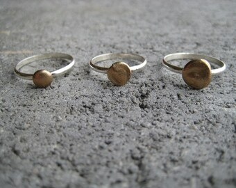 SET of 3 BRONZE and SILVER Stacking Rings. Bronze Pebble on Simple Silver Band Stackable Rings. Minimalist Stackable Rings Silver and Bronze