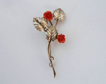 Silver brooch, coral brooch, vintage brooch, vintage silver brooch, vintage coral brooch, silver clip, silver clasp pin, silver ouch, clip
