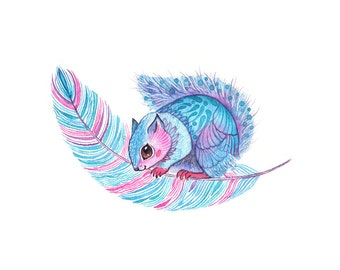 Squirrel print, Japanese Dwarf Flying - watercolor animal and feather art print, size 10'x8'/A4 in (No. 53)