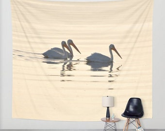 Bird Wall Tapestry, White Pelicans Wall Hanging, Salton Sea Wall Tapestry, Sunset Tapestry, Pink Glow Nursery Tapestry, Lake Soft Reflection