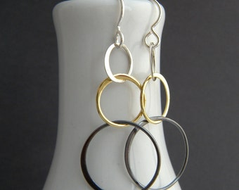 small mixed metals earrings tiered circles chain lightweight dangle brass sterling silver leverback hook modern geometric simple jewelry