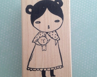 Little Girl With Teddy Bear  Rubber Stamp 6374