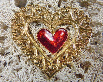 Vintage Filigree Gold Heart Tack - BR-506 - Filigree Heart Brooch - Gold Filigree Heart Tack - Gold Filigree Heart Pin