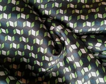 Designer Closeout FABRIC - Rayon Twill in Green Blue Geo