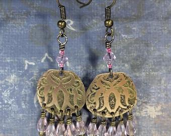 Etched Brass Earrings, Art Deco Earrings Pink Dangles - Free Domestic Shipping