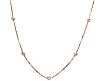 1 mm 925 Sterling Silver Rose Gold Plated Box W/ Bead Necklace 16 To 20 Inch Length (SSN100166)