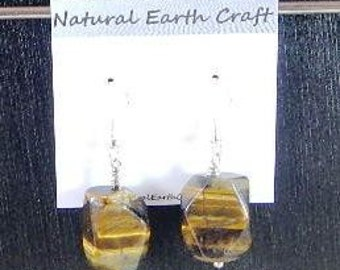 Chunky golden brown tigers eye earrings faceted oblongs semiprecious stone jewelry packaged in a colorful gift bag 2877 B C