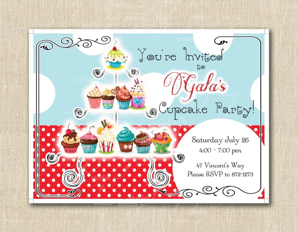 Cupcake French Bakery Party Invitation Polka Dot Dessert