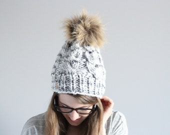 Cable Hat, Chunky Beanie, Winter Pom Hat, Faux Fur Pom, Beanie Pom Hat, Pom Cable Beanie, Made To Order