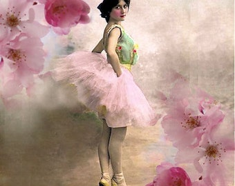 ZNE- The Pink Ballet - Digital Collage 5 x 5 - Art by ruby